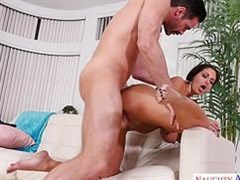busty woman fucks with a mustached man