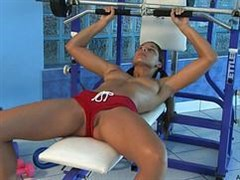 In the gym, sports girls naughty together