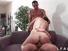 Trouble-free young heifer mates fuck in two members